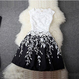 Fashion Sexy Women Summer Dress Chiffon Dress Elegant Sleeveless O-neck Embroidery Lace vestidos Large Size Bottoming Dress