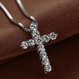 Collier Femme New Fashion 925 sterling silver cross Necklaces & Pendants Collares for Women men Mujer Accessories Jewelry