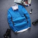 Round Neck Long Sleeved Men's Sweater