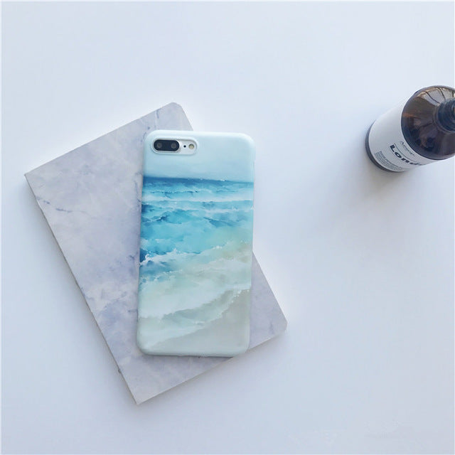 Mountain sea waves painted TPU case for iphone 7 7Plus Scrub tpu case For iphone X 6 6s 6plus 6splus 8 8plus back cover