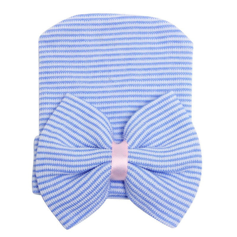 1 Pc Hospital Newborn Hat Baby Girl Cotton Beanie With Bow Newborn Soft Knit Infant Striped Caps Baby Toddler Hat Accessories - Blobimports.com
