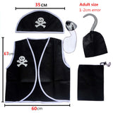 Children Kid favourite Classic Pirate Costume Halloween cosplay costumes Skull Eye Vest Hat Blinder Hook Boys Girl Adult costume
