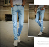 2016  Men's Straight  Elastic Waist Skinny Jeans Mid Waist  Men's  Slim Fit Jean Homme Casual Pants 28-38 Size