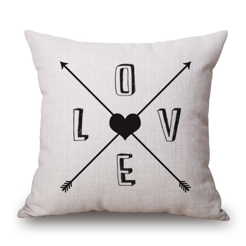 Romantic Modern Simple Beige Love Star Pattern Pillow Case Deer and Panda Chair Square Throw Pillow Cover Decorative Pillows
