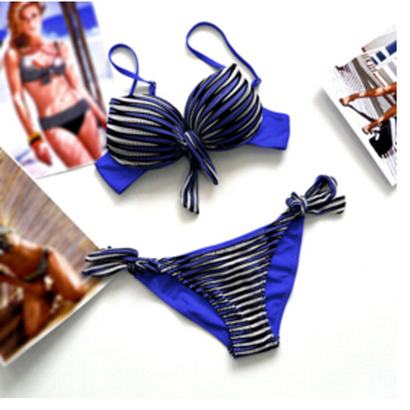 2016 Summer Women Sets Sexy Striped Bikini Swimsuit Beachwear Swimwear Women Push Up Bikini Bathing Suit Plus Size M - XXXL 68