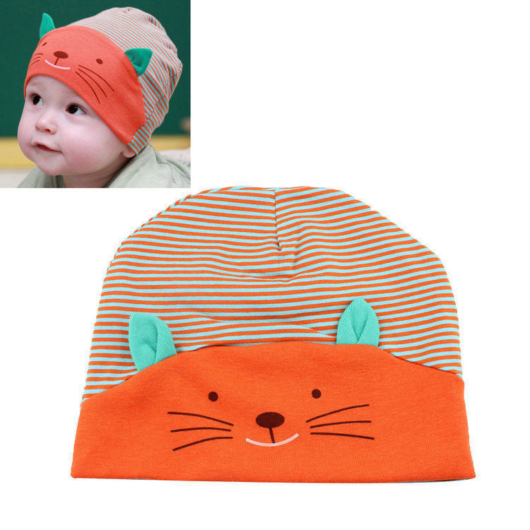 deae3b6c825 1PC 2016 Hot Soft Cotton Baby Hat Lovely Cat Stripe Beanie Winter Todd