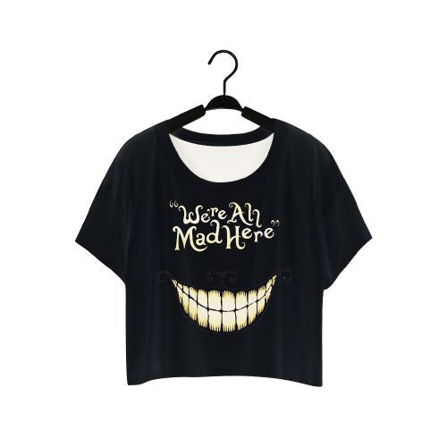 "Lei-SAGLY 2016 ""We're All Mad Here"" Harajuku T-shirt Short Crop Tops Punk Sleeve Women Clothes Summer Style O-Neck T shirts F977"