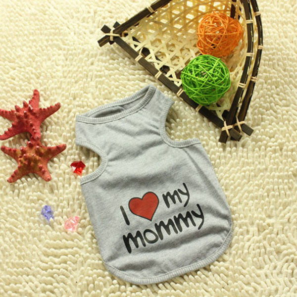 Pet Dog Puppy Cat Clothes Vest Doggie I Love Mommy/Daddy Coat Apparel T-Shirt Costumes Free Shipping