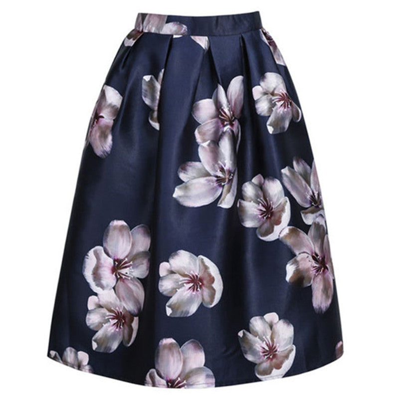 HimanJie Women Peach Floral Print Elastic High Waist Pleated Long Midi Skater Skirt 3 Colors In Stock 2015 Spring New