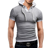 Men'S T Shirt 2016 Summer Fashion Hooded Sling Short-Sleeved Tees Male Camisa Masculina Sports T-Shirt Slim Tshirt Homme 4XL