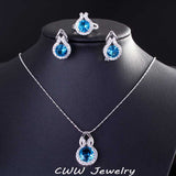 9 Color Options Sparkling Yellow Cubic Zirconia Diamond Earring And Necklace Fashion Women 925 Sterling Silver Jewelry Sets T199