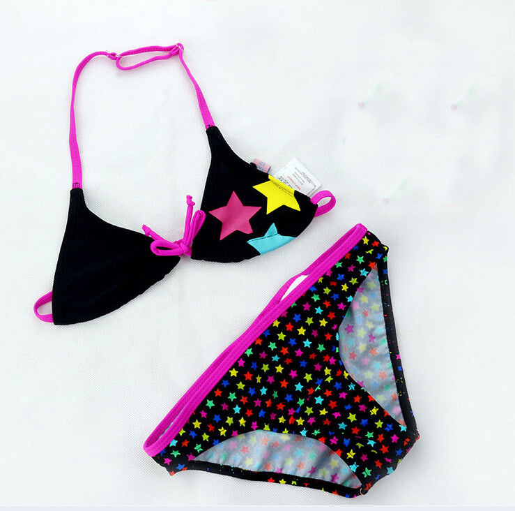 2016 New Summer Bathing Suit Girls split Two-pieces Swimwear, Children Cute Star Pattern Split Bikini Girls Swimsuit Wholesale