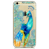 Phone Case Cover For iPhone 6 6s Ultra Soft TPU Transparent Peacock Cartoon Patterns Back Design funds Capa Coque Para Bag