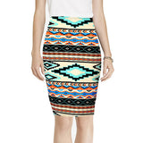 2016 Spring Summer Vintage Fashion Printed Pencil Skirt Midi Women Knee-Length Elastic High Waist Ladies Pattern Skirts D40