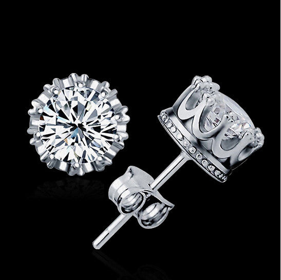 2015 Fashion 925 Sterling Sliver Crown 8MM Round 2 Carat Cubic Zircon CZ Diamond Stud Earrings For Women Men Gift brincos E184