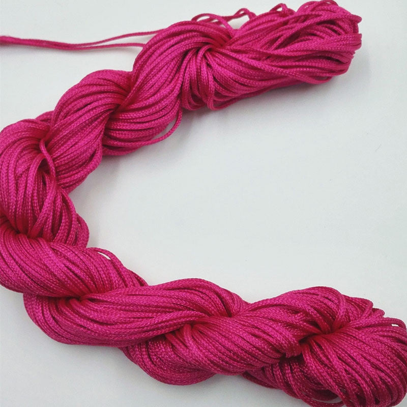 Hot Sale 16 Color Nylon Cord Thread Chinese Knot Macrame Rattail 1mm*25M For DIY Bracelet Braided
