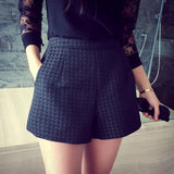 2016 New Fashion Europe and Joker dark Plaid shorts high-waisted shorts Korean Casual women Jeans Shorts crochet shorts