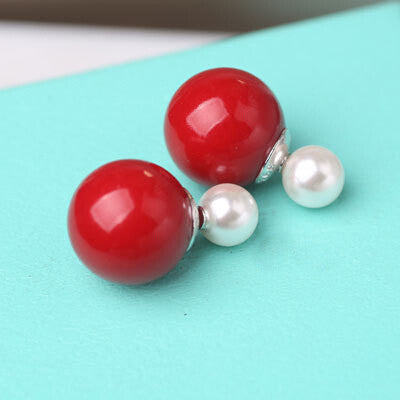 925 Sterling Silver Double Sides Pearl Earrings Studs Jewelry for Women 9 Colors