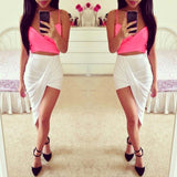 Sexy Fashion New Solid High Low Wrapped Elastic Waist Asymmetrical Skirt Draped Cut Out Skirt