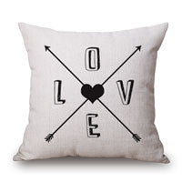 Romantic Modern Simple Beige Love Star Pattern Pillow Case Deer and Panda Chair Square Waist Throw Pillow Cover Home Garden