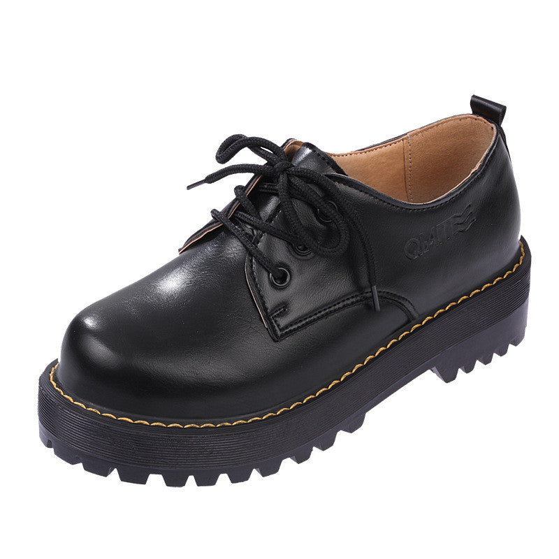 2016 British Style Women Oxfords New Spring Winter Lace-Up Flats Round Toe Creepers Casual Ladies Platform Shoes Woman XWD2534