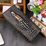 Women Wallet Female 2016 Coin Purses Holders Brand Genuine Leather 3D Embossing Alligator Ladies Crocodile Long Clutch Wallets