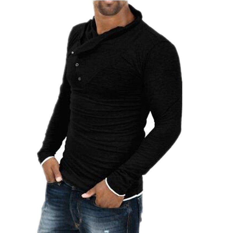 Brand clothing 2016, T shirt Men Fashion Solid Color Slim Fit Cool Long Sleeve Black T-shirt Men Tshirt Hip Hop Camisa Masculina