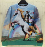 "[Amy] New fashion Women Men space ""Unicorn and Knight Cats"" Print Pullover 3D/Galaxy Sweatshirts Hoodies blouse Tops"