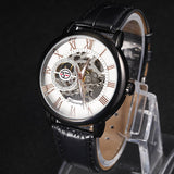 FORSINING Golden Case Luxury Men Rome Number Display mechanical Black Dial Leather Strap Male Casual Watch