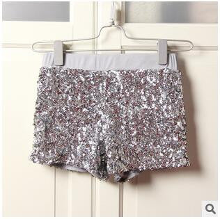Women Elastic High Waist Sequins Booty Shorts Silver Black Gold Red DS hip hop jazz Sparke Shorts