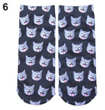 high quality The Most Popular Casual Women's Low Cut short Sock 3D Printed Cartoon Animal Cat Patterns Anklet Hosiery 75ER