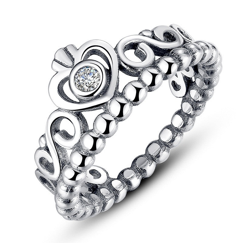 BRAIDED PAVE ,LEAVES My Princess Queen Crown SILVER RING Twist Of Fate Stackable Ring Compatible with Pan Jewelry