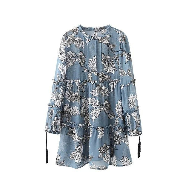 2016 spring summer new women's O-neck Raglan lantern sleeved chiffon dress floral flower print blue pink brown