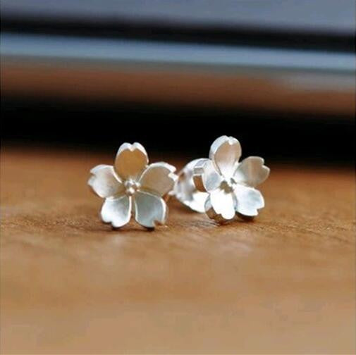 925 Sterling Silver Jewelry Silver Flower Earrings For Women Pendientes Brincos