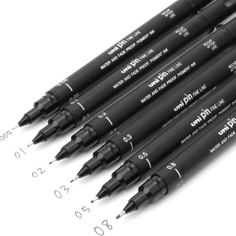 6PCS fineliner Pigma Micron Drawing Pen 005 01 02 03 04 05 08 Brush Waterproof Manga anime comic Pen NOT staedtler durable 308