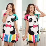 New Women Cartoon Polka Dot Sleepwear Short Sleeve Sleepshirt Sleepdress