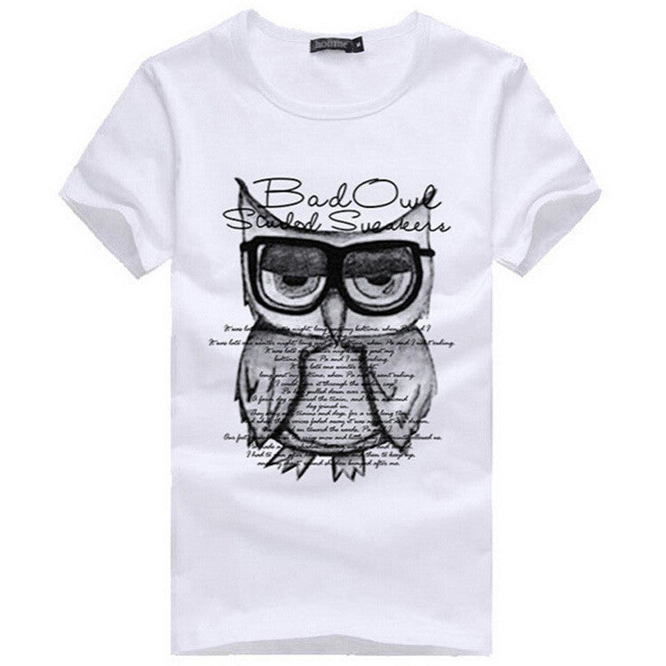 Men T-Shirt Children shirts Summer New Printing Owl Burst Knitted Cotton Casual Man's Slim Fit Short-Sleeve T Shirt boy Clothes
