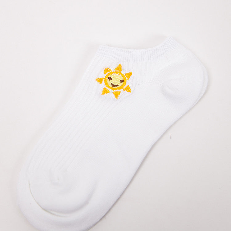 35-39 Women Summer Cotton Socks Harajuku White Color Embroidery Emoji Food Cactus Character Print Ladies Invisible No Show Socks