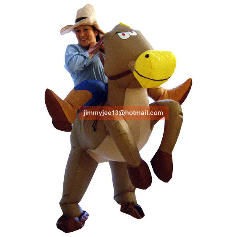 2016 Purim Halloween Costumes for Adult Man and Woman Outfits Inflatable Cowboy Rider On Horse Costumes