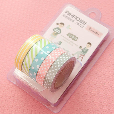 (5pcs/set) Color Paper Tapes Handmade DIY Decorative Washi Tape Colored Adhesive Tapes - Blobimports.com