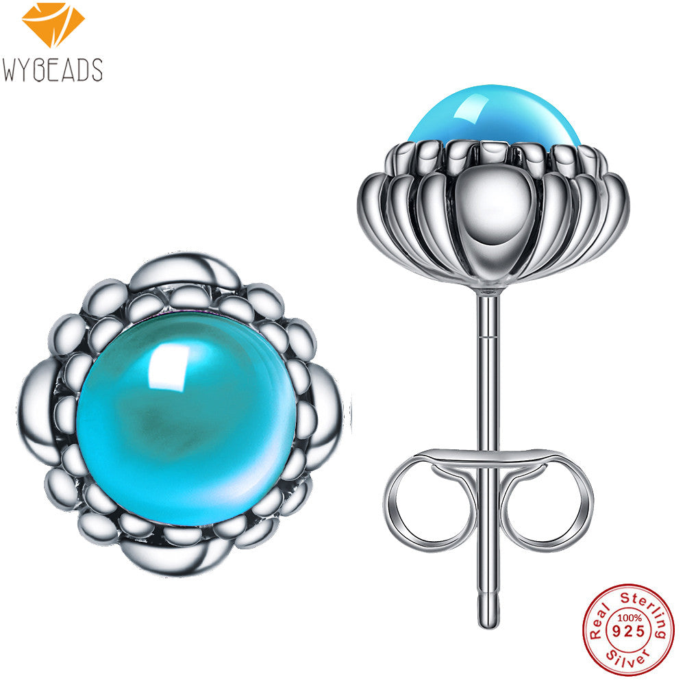 100% 925 Sterling Silver Aquamarine March Birthday Blooms Stud Earrings For Women Female Fashion Earring Original Jewelry Making - Blobimports.com
