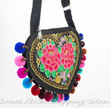 Ethnic Embroidered Bags double-sided Flower embroidery Shoulder Messenger bag hydrangea lady small heart-shaped Travel Handbag