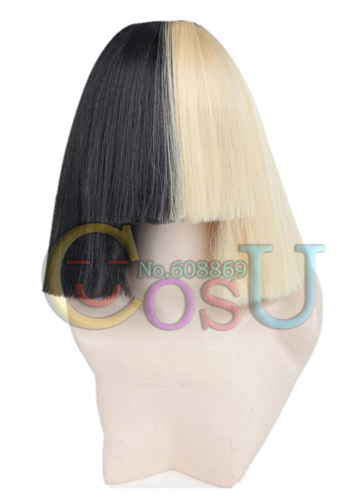 Topcosplay Sia Alive This Is Acting Half Black and  Blonde Short Costume Cosplay Wigs Cover Nose Halloween Hair for Women