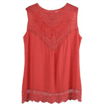 Feitong Women Summer Tank Lace Hollow Tops T Shirt 2016 Fashion Cotton Bend Sleeveless Casual Tops Tank blusa de renda feminino
