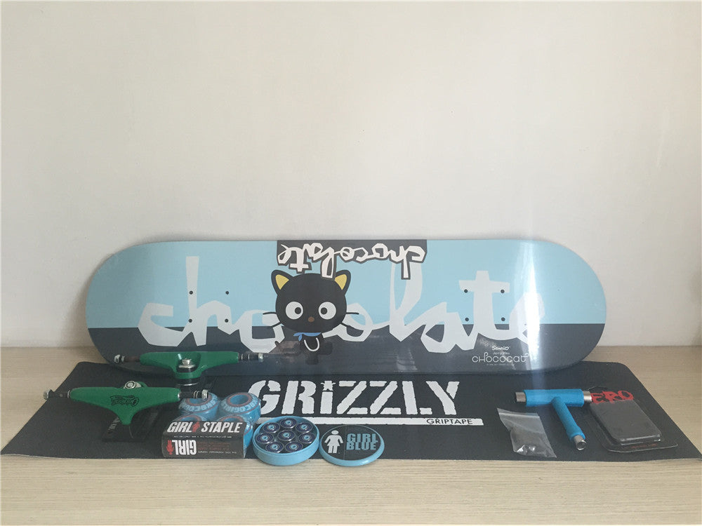 Chocolate Skateboard Deck Union Trucks Girl Wheels & ABEC-3 Bearings Skate Complete Set Plus Hardware Set Riser Pad & Skate Tool