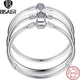 Authentic Real 100% 925 Sterling Silver Bracelet For Women Charm Fit Pandora Bracelet & Bangle Snake Chain Jewelry NO LOGO
