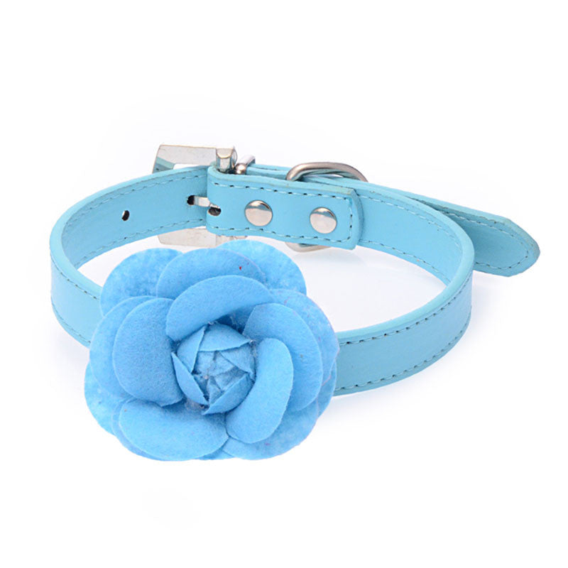5 Color 4 Size Leather Dog Collar with Flower Accessories Supplies Products for pet Leash and Harness Set For Dogs and Cat HP648