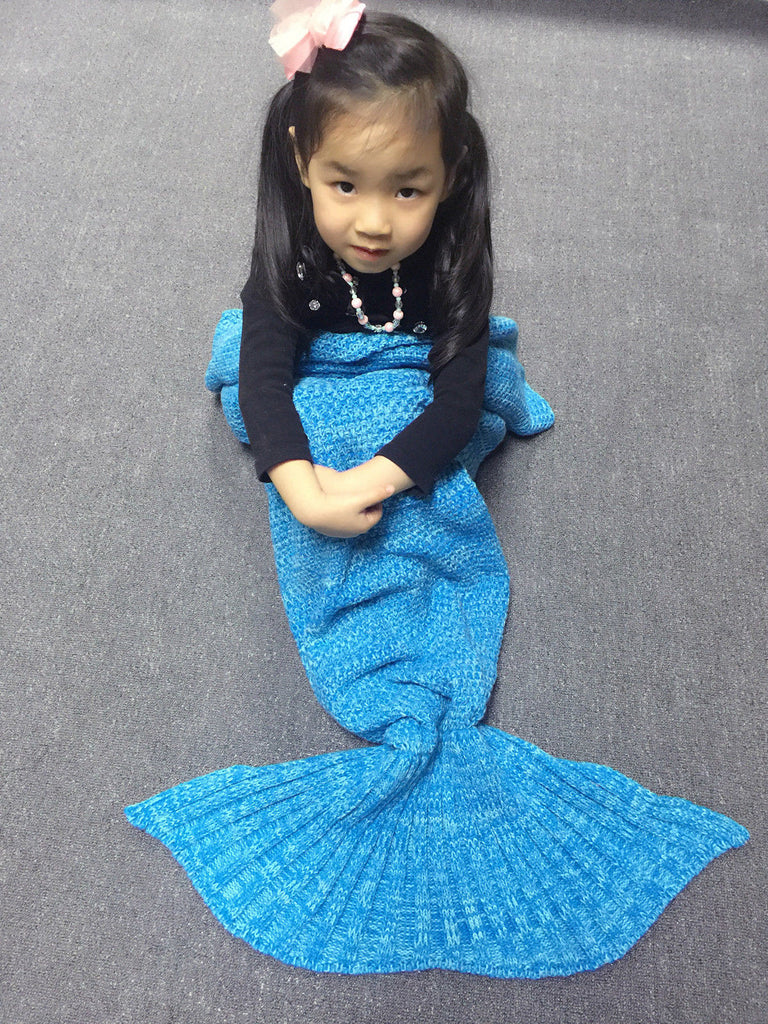Adults Children Crocheted Adult Kids Mermaid Tail Cocoon Knit Lapghan Blanket