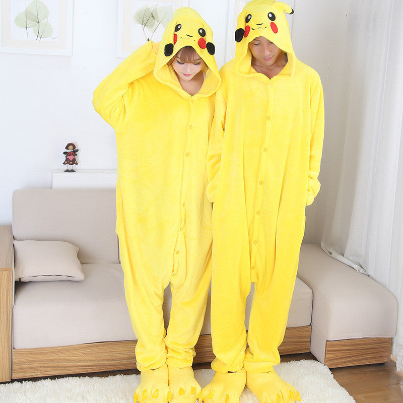 Anime cospaly pokemon pikachu Adult pajamas Onesie fantasias mascot pikachu costume halloween costumes for women and men
