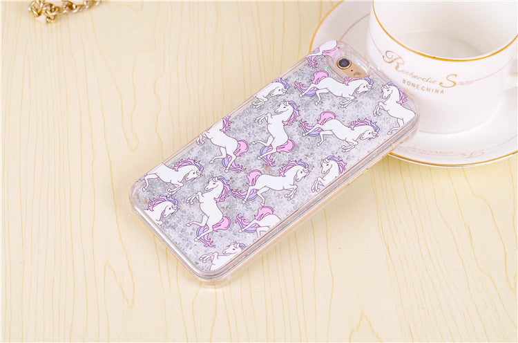 i6 phone cases Cartoon Unicorn Horse Dynamic Paillette Glitter Stars Water Liquid case for iPhone 6 6s 4.7 inch plastic Covers